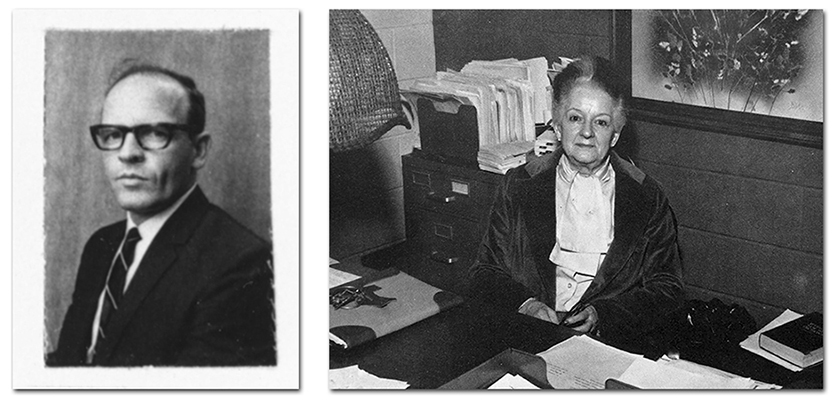 On the left is a portrait of Principal Carpenter from the Fairfax County Public Schools staff directory, 1970 to 1971. On the right is a portrait of Principal Williamson. She is seated in her office at her desk.