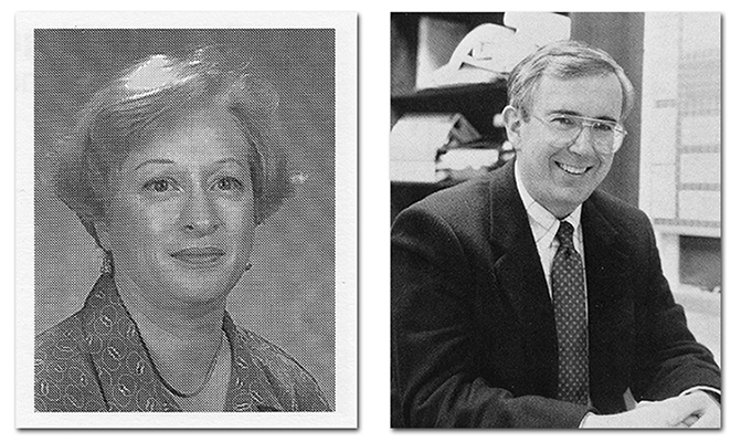 On the left is a portrait of Principal Bender from the Fairfax Association of Elementary School Principals directory, 1997 to 1998. On the right is a portrait of Principal Stewart taken in 1989. He is seated in his office.